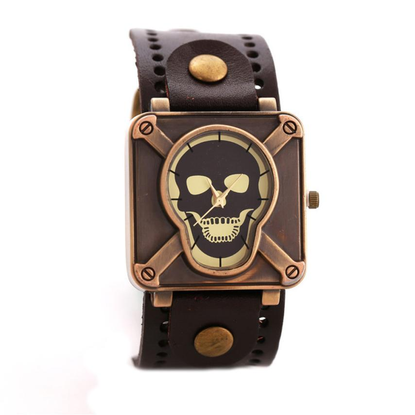 Relogio Masculino Mens Watches Gothic Skull Head Wristwatch Special Design Square Dial Quartz Watch Men Halloween New Gift
