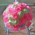 Champán rosado Personalizado DIY Flores Artificiales de Seda Rosa Ramo de la Boda Flores buque de noiva Nupcial Ramo de La Boda de dama de Honor