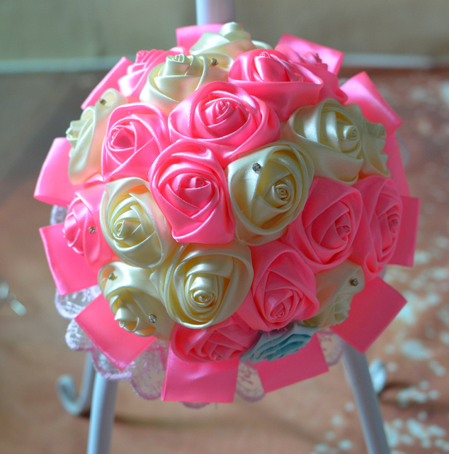 Pink champagne DIY Custom Artificial Flowers Silk Rose Bouquet Wedding Flowers buque de noiva Bridesmaid Bridal Wedding Bouquet