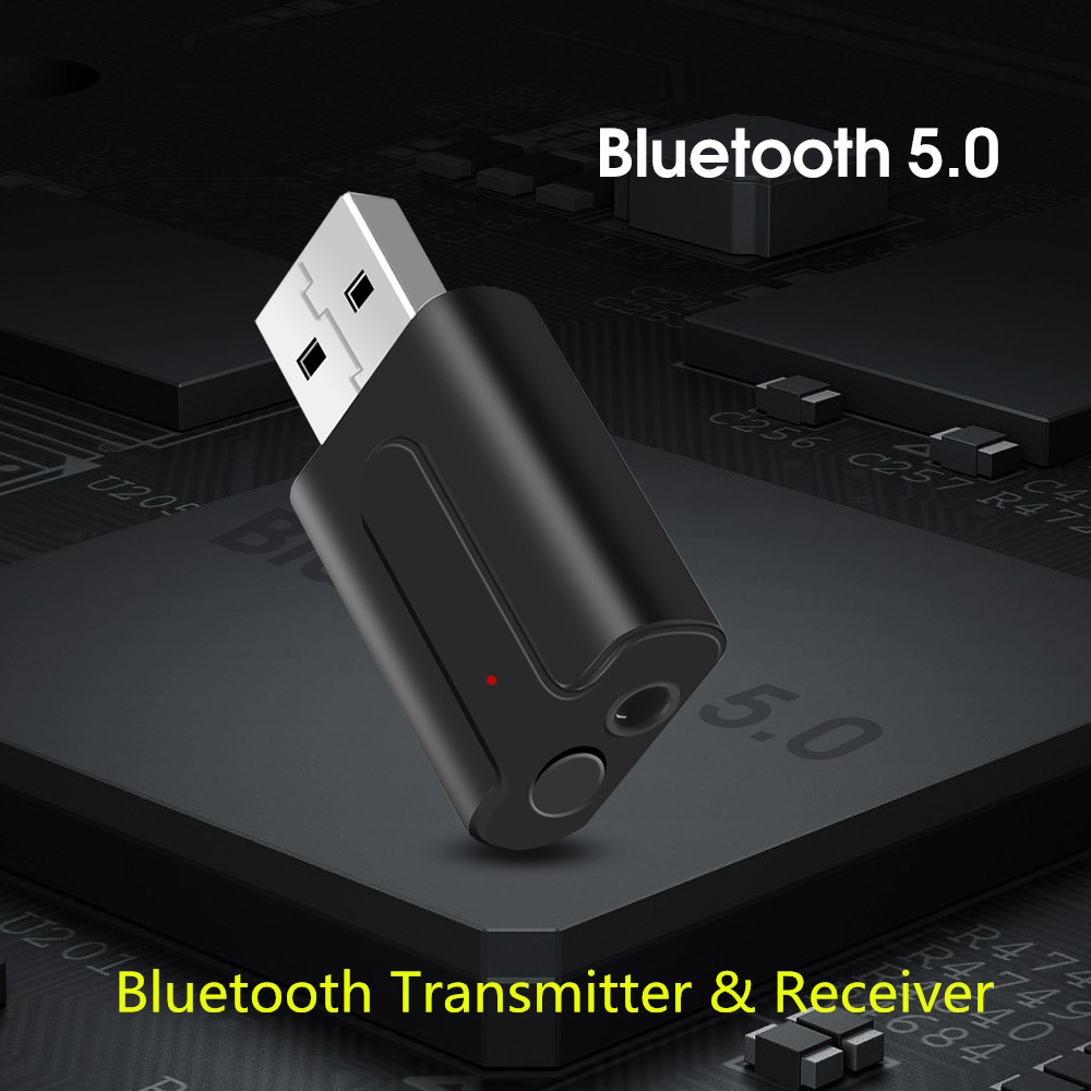 3.mm AUX 2 In 1 Bluetooth V5.0 Car Kit Transmitter Receiver USB Wireless Adapter Stereo Muisc Audio Adaptador For TV PC Speaker