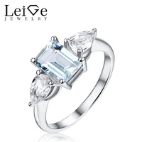 Leige Jewelry Multi Stones Rings Natural Aquamarine White Topaz Ring 925 Sterling Silver Engagement Wedding Jewelry Emerald Cut