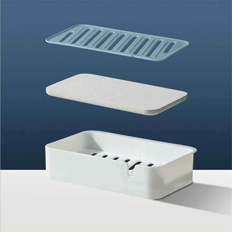 1Pc Leaves Creative Double Layer Soap Box Plastic Anti-skid Drain Bathroom Parts
