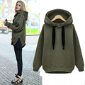 2016 Spring Autumn Warmth Long Sleeve Casual Sweatshirt Women Solid O-neck Hoodies Long section coat