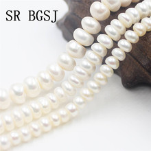 Free Shipping 5-6mm 7-8mm 9-10mm Natural Rondelle Freshwater Pearl Jewelry Making Wholesale Beads Strand 14