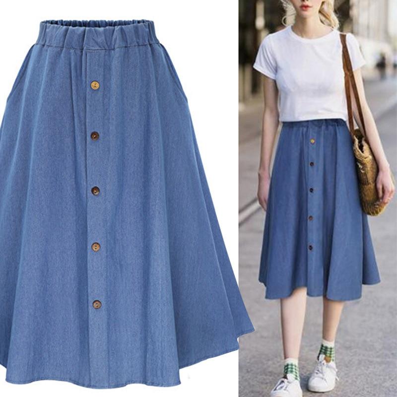 Denim Jeans A-line Women's Midi Skirt High Waist Button Students Skirts Women 2019 Summer Autumn College Clothes Plus Size XXXL