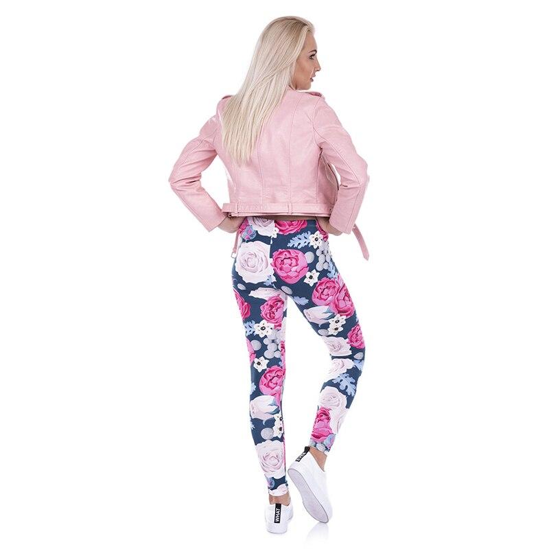 2017 kobiety moda na co dzień podstawowe legginsy dzikie róże różowe kwiaty drukowane legginsy wysoka talia 95% poliester 5% elastan pasuje do Legging w Legginsy od Odzież damska na  Grupa 3