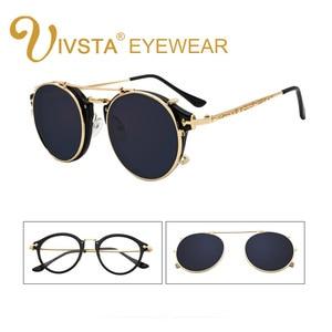 Image 1 - IVSTA Clip On Sunglasses Men Removable Clips Flip Up Glasses Round Steampunk Women Optical Frame Graduated Retro Mirror Lenses