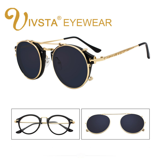 4a7bcc2a00 IVSTA Clip On Sunglasses Men Removable Clips Flip Up Glasses Round  Steampunk Women Optical Frame Graduated Retro Mirror Lenses