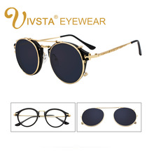 선글라스에 IVSTA 클립 남자 이동식 클립 플립 안경 라운드 Steampunk 여성 광학 프레임 졸업 레트로 미러 렌즈