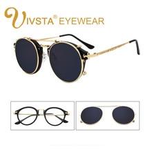 IVSTA мужские и женские солнцезащитные очки на застежке со съемными зажимами, круглые зеркальные очки в стиле стимпанк, оптическая оправа в ретро стиле
