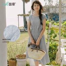 3feed337256128 Inman Round Collar Embroidery Summer Dress 2019 Women Cotton Elastic Waist  Dresses Short Sleeve Feminine Knee