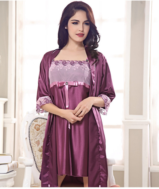 Imitation Silk Nightwear Promotion 2017 Fashion Women Gown Set Sexy Night Skirts V Neck Sleeve Sleepwear Plus Big Size