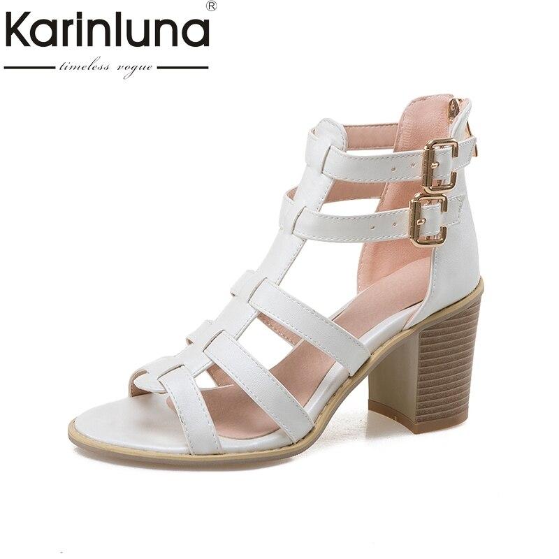 где купить Karinluna big Size 33-43 Brand shoes women square high Heel Sandals Summer Shoes Woman Sexy gladiator footwear по лучшей цене