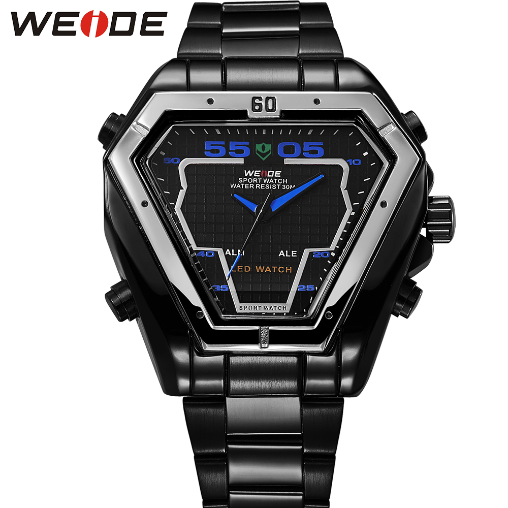 WEIDE Irregular Analog LED Digital Watch Men Quartz Dual Movement Stainless Steel Bracelet Mens Waterproof Military Watches weide irregular men military analog digital led watch 3atm water resistant stainless steel bracelet multifunction sports watches