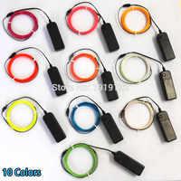 1,3mm 360 grados de iluminación Flexible EL Cable de cuerda de brillo tira de luz de neón LED para decoración de fiesta alimentada por 2AA batería