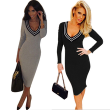 Sexy V neck women font b dress b font long sleeved autumn winter bodycon sheath fitted