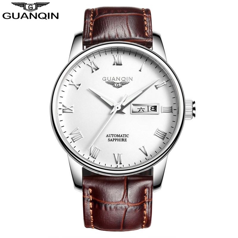 Brand Men Watch GUANQIN Luxury Watches Fashion Casual Sports Wristwatches Boy Mechanical Watch Leather Waterproof Clock