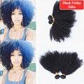 Mongol afro rizado rizado extensiones de cabello humano 6A mongol rizado rizado pelo teje 4 unids/lote natural negro rizos apretados