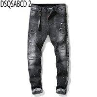 European American famous brand black jeans Men slim jeans patchwork letter Moto & Biker jeans pants black hole jeans for men