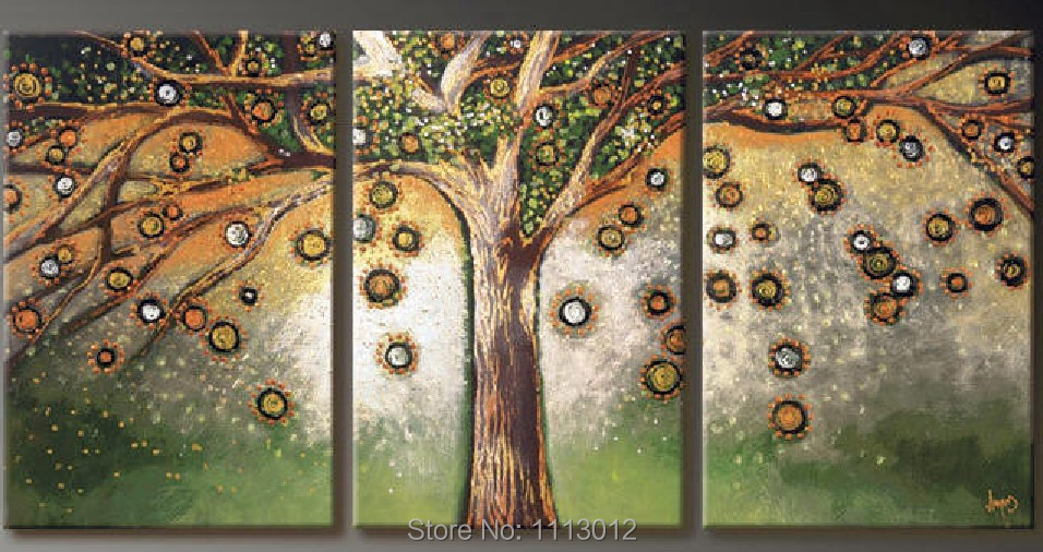 Hot New Hand Painted Canvas Tree Oil Paintings Abstract Set 3 Panel Home Wall Art Decoration