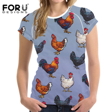 FORUDESIGNS T Shirt Women Animal Chickens Printing Tee Shirt Female Funny Pattern T-shirt for Ladies Fitness Clothing Streetwear