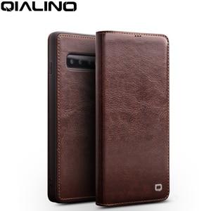 Image 1 - QIALINO Luxus Echtes Leder Telefon Abdeckung für Samsung Galaxy S10 6,1 zoll Stilvolle Ultra Dünne Flip Fall für Galaxy S10 plus