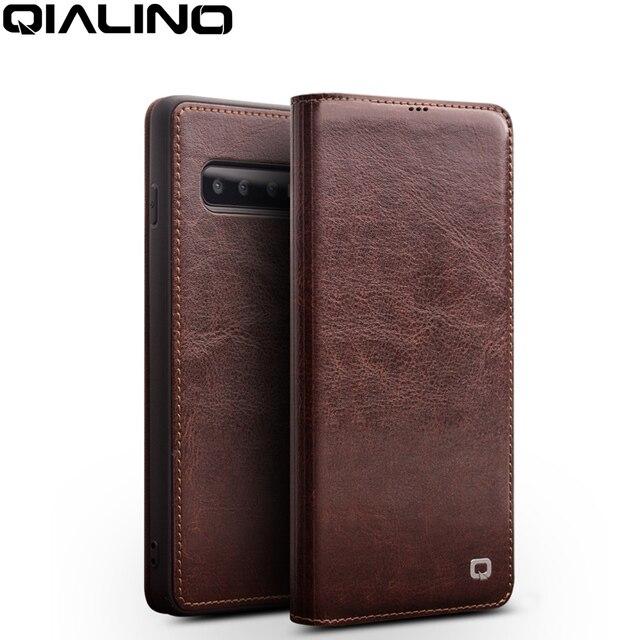 QIALINO Luxus Echtes Leder Telefon Abdeckung für Samsung Galaxy S10 6,1 zoll Stilvolle Ultra Dünne Flip Fall für Galaxy S10 plus