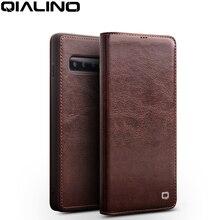 QIALINO 高級本革携帯電話カバー三星銀河 S10 6.1 インチスタイリッシュな超薄型フリップケースのための銀河 S10 プラス