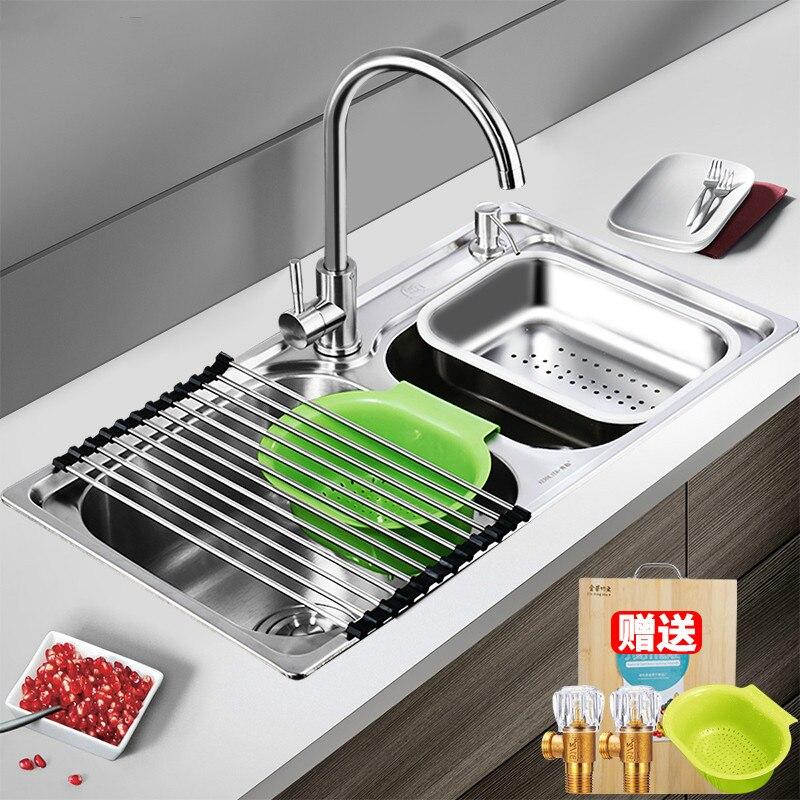 304 cuisine en acier inoxydable épaissi lavabo évier double fente intégré Lu 4283 - 2