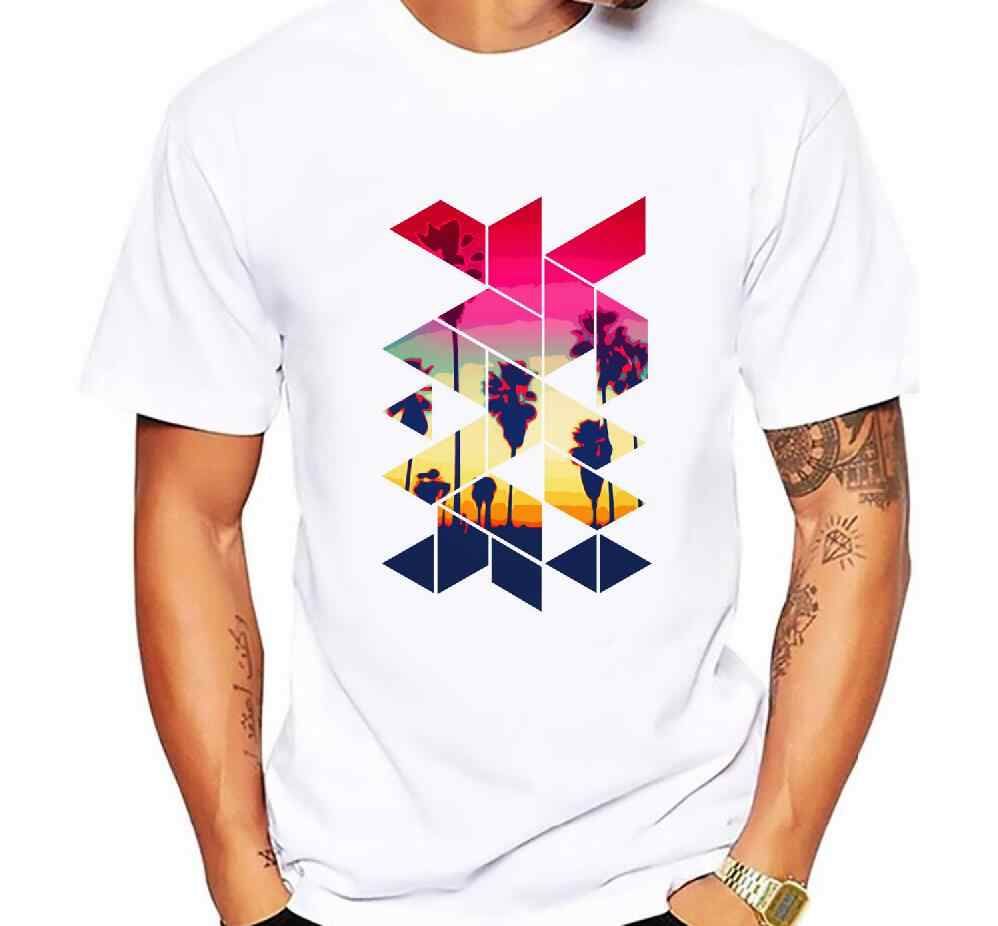 Men T Shirts Fashion California Palm Beach Summer Sunset Geometric Shape Short Sleeve Casual Tops Hipster Vintage T-Shirt Cool