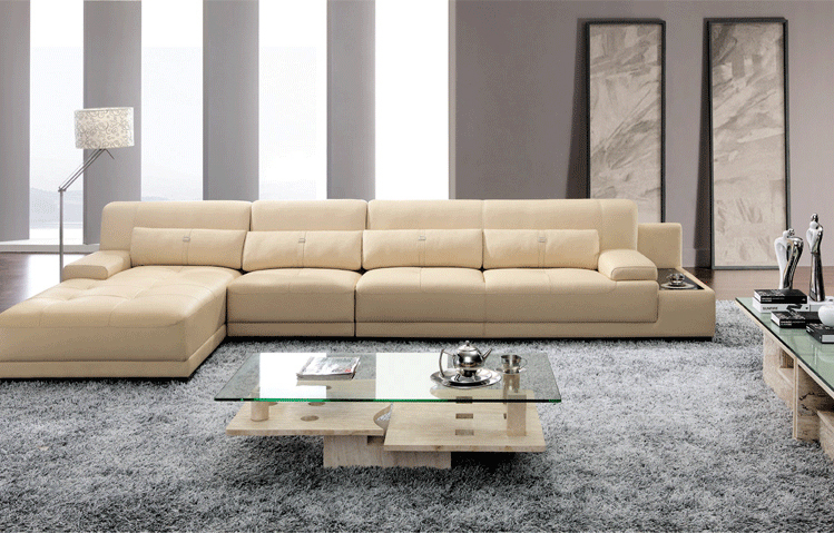 Elegant Sofas Living Room Part - 41: Elegant And Rational Leather Sofa Livingroom Sofa Sectional With Pillows  Cupboard--Wholesale And Retail