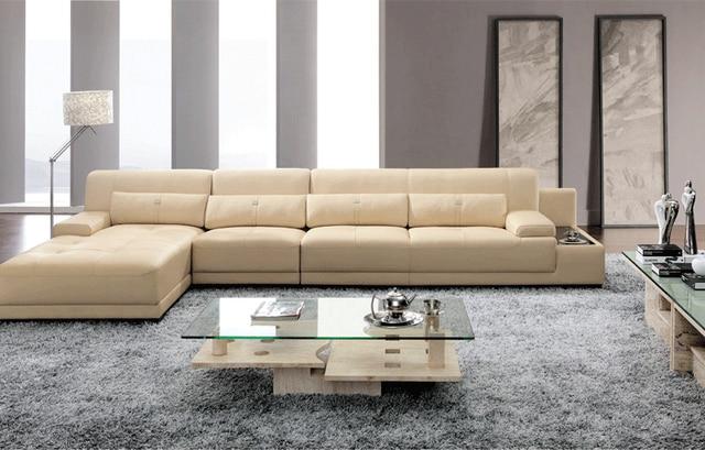 Elegante und rationale Leder sofa Wohnzimmer sofa schnitt mit kissen ...