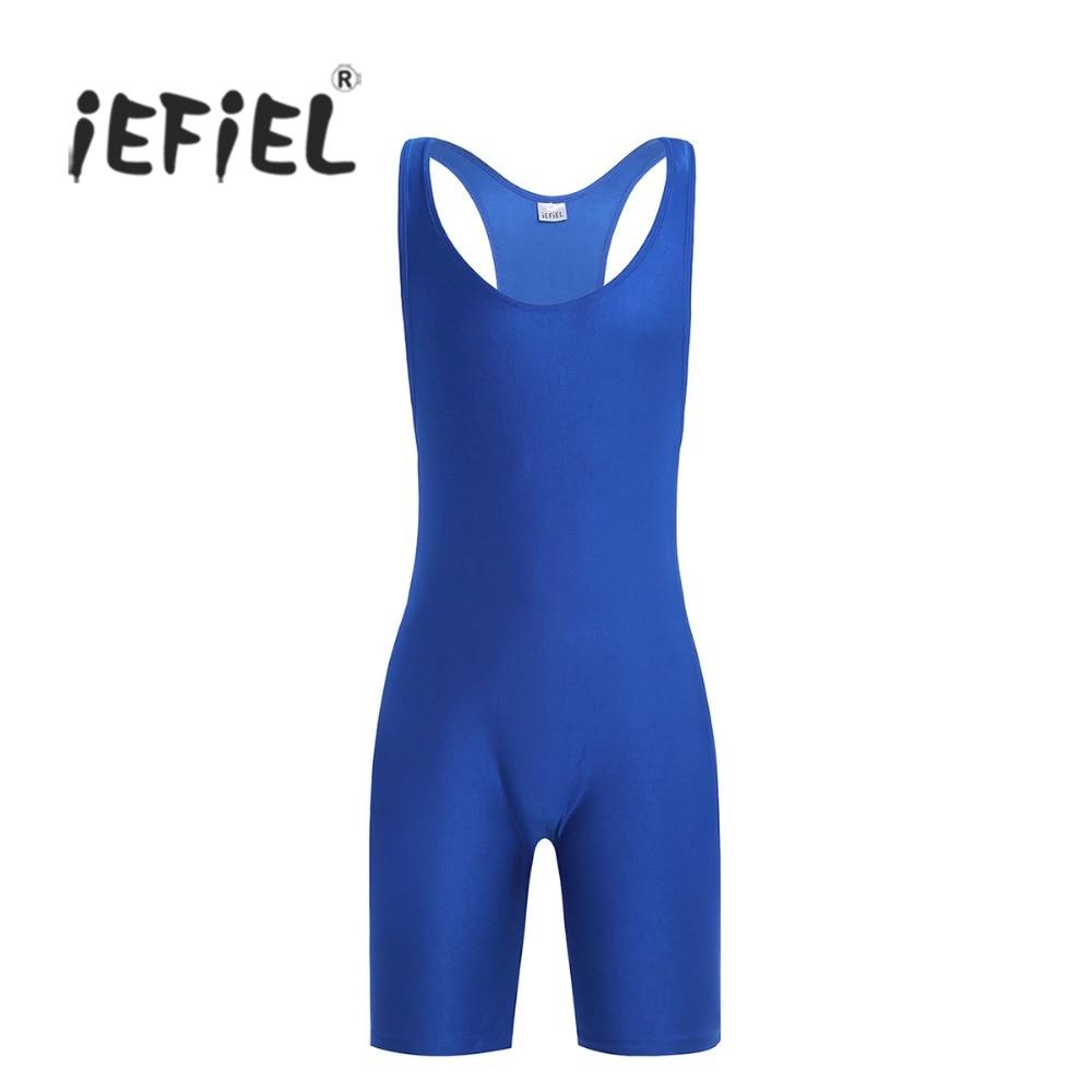 iEFiEL Mens Lingerie One-piece Sleeveless Solid Modified Wrestling Singlet Boxer Briefs Tight Bodysuit Underwear Underpants