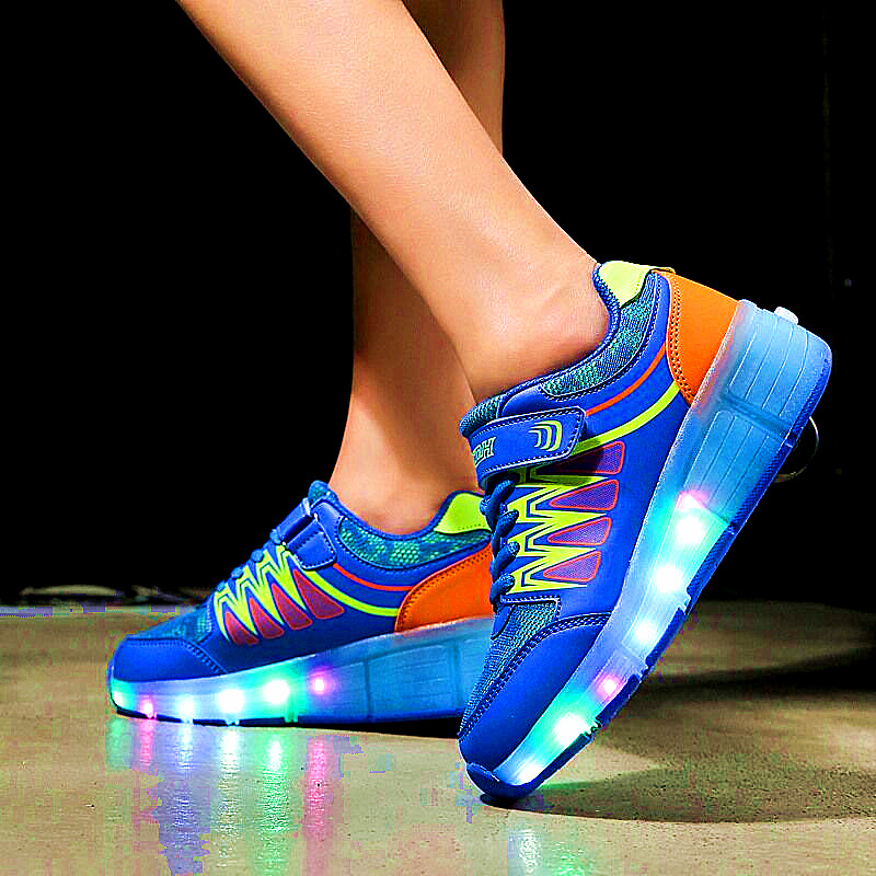 New Style Children Single Round Roller Skates Walking Shoes with wheels Colorful Light - Emitting Fashion Trends Shine Sneakers children roller sneaker with one wheel led lighted flashing roller skates kids boy girl shoes zapatillas con ruedas