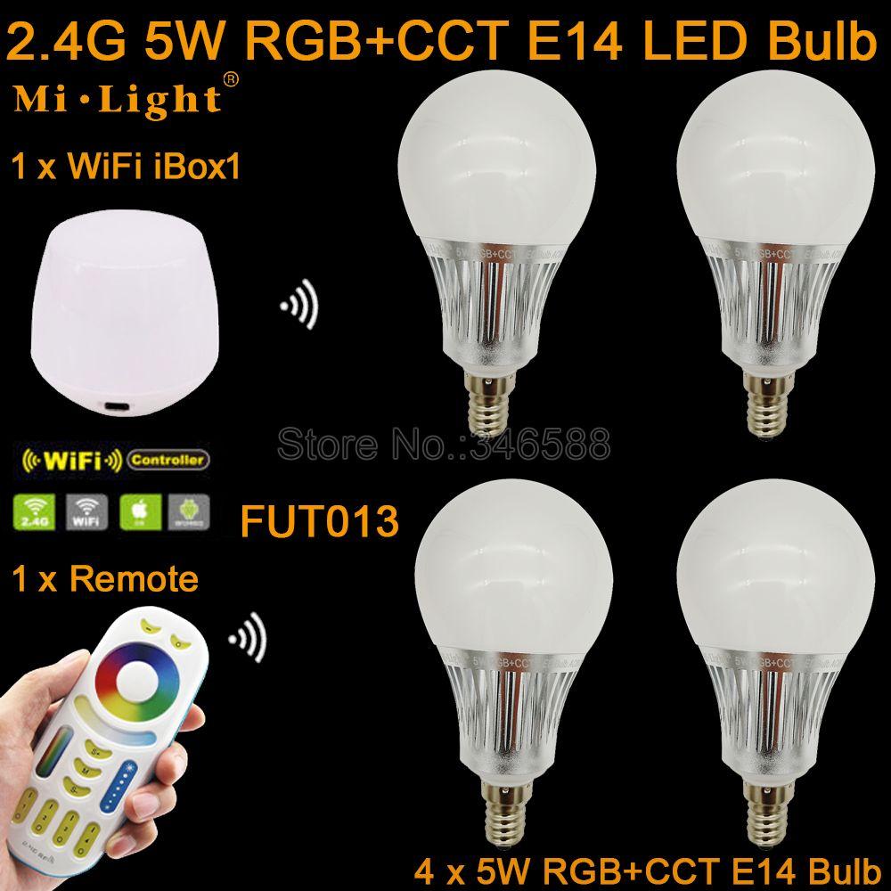 4x Mi. Lumière AC110V 220 V 2.4G Sans Fil E14 5 W RGB + CCT LED Ampoule Dimmable FUT013 + 4-Zone Tactile À Distance + WiFi iBox1 Lampe