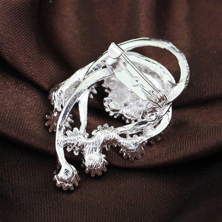 Eropa Hot Perak Disepuh Collar Pin Bros Kristal Rhinestones Tergabung Wanita Bros Drop Pengiriman