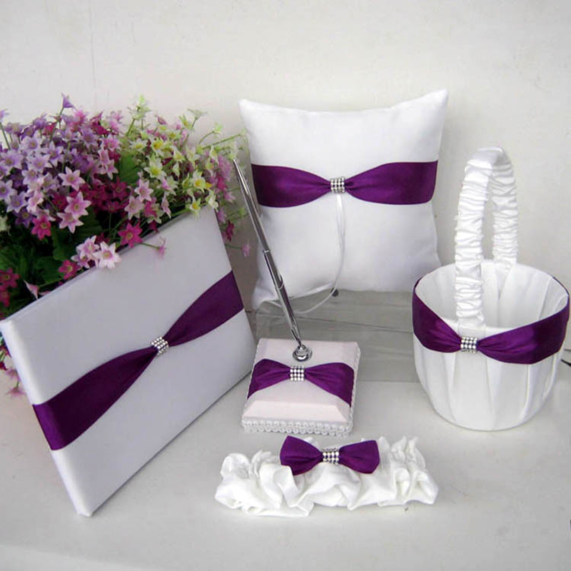 5Pcs/set Festival Party supplies violet Satin Wedding Guest Book Sign Pen Flower Baskets Ring Pillow sets bride accessories