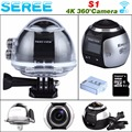 Seree Professional Wifi Action Camerar Portable Camcorder 360 Camera 1200mAh 1080P Car Camera 2448*2448 Ultra HD Panorama Camera