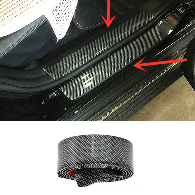 Car Styling Carbon Fiber Mouldings Strip Bumper Decorative Strips Adhesive Door Sill Protection Trim For Suzuki Swift SX4 Jimny abs rubber car door bumper strips w 3m adhesive tapes black