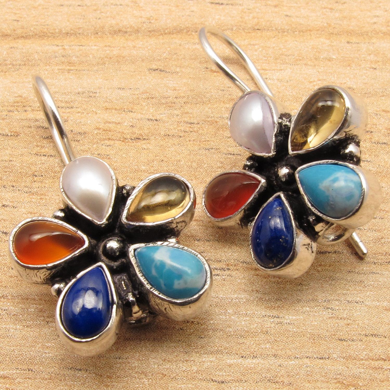 Natural MULTI COLOR Gems FLOWER STYLE Handmade Design Earrings Silver Plated