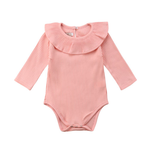 Newborn Baby Girl Long Sleeves Romper Lotus Leaf Collar Romper Outfits 5 Color