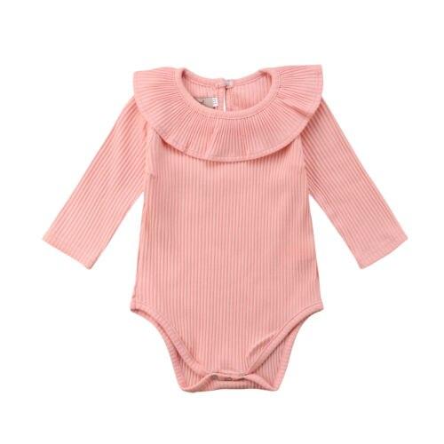 Newborn Baby Girl Long Sleeves   Romper   Lotus Leaf Collar   Romper   Outfits 5 Color