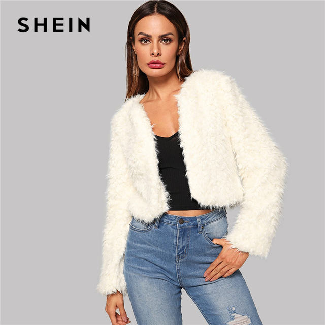 aea05397d1 SHEIN Beige Solid Open Stitch High Street Crop Teddy Coat Women Jackets  Casual Club Party Winter Coat Women Going Out Outerwear