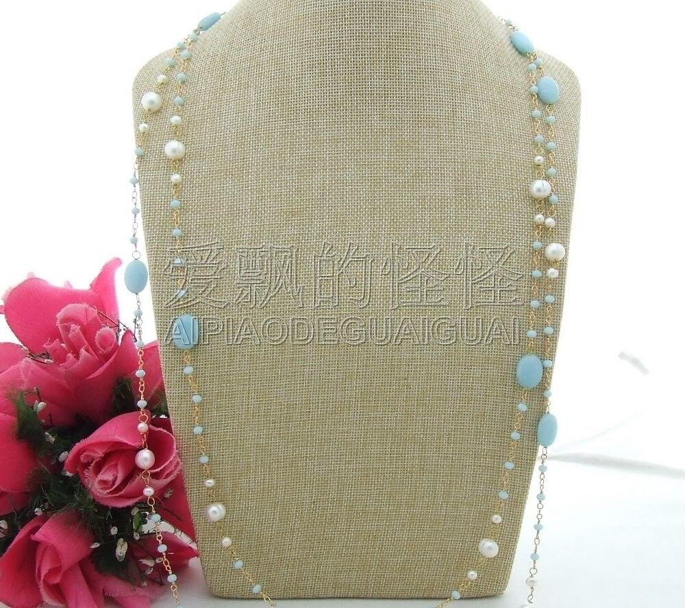 N101610 74 collier en cristal bleu perle blancheN101610 74 collier en cristal bleu perle blanche