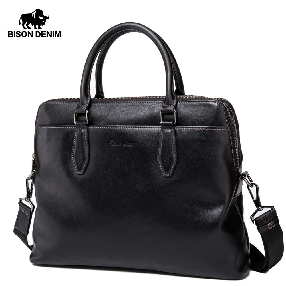 "BISON DENIM Brand Men's Briefcases Genuine Leather 15"" Laptop Crossbody Bags Business Large Capacity Travel Men Bag N2607"