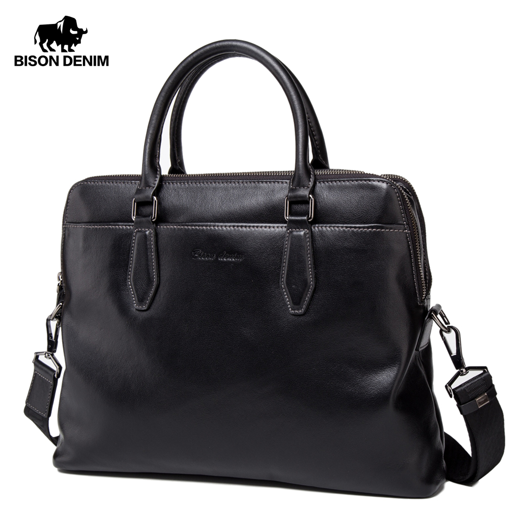 BISON DENIM Brand Men's Briefcases Genuine Leather 15