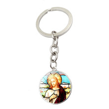 Gimayer I love Jesus time Crystal key Keychain key ring pendant European and American jewelry Key Chain cool stylish i love jesus bracelet brown