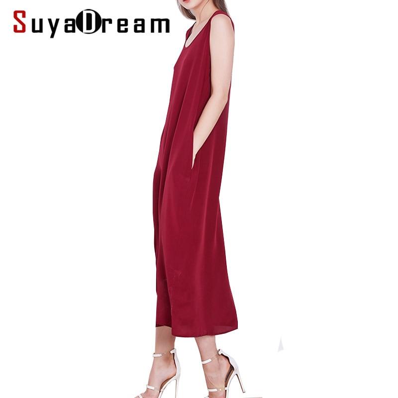 여성 긴 드레스 19mm 100% 실크 민소매 드레스 솔리드 와인 사이드 포켓 드레스 2019 봄 여름-에서드레스부터 여성 의류 의  그룹 1