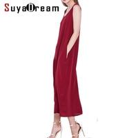 Women Long Dress 19MM 100 Silk Sleeveless Dress Solid Wine Side Pockets Dresses 2018 Spring Summer