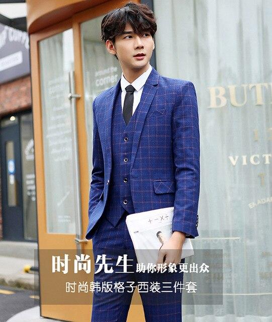 New Men S Lattice Matte Suits Suit Business Casual Wedding Three Sets Of
